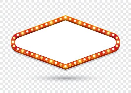 Cartelera de bombillas eléctricas. Marcos de luz retro rombo vacíos para texto. Ilustración vectorial Ilustración de vector