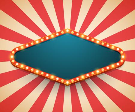 Cadre léger brillant panneau d'affichage rétro. Style vintage d'affiche de casino. Illustration vectorielle