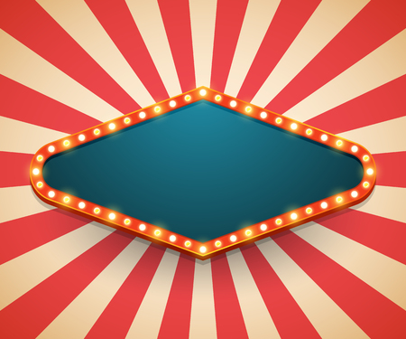 Lichtrahmen glänzende Retro-Plakatwand. Casino-Poster im Vintage-Stil. Vektor-Illustration