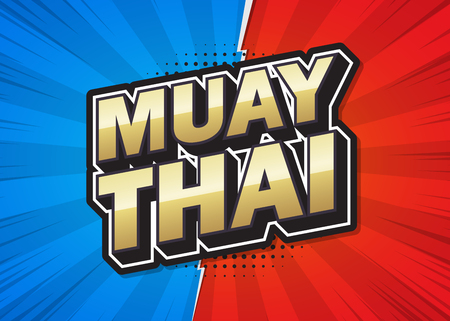 Muay Thai text poster speech design. Vector illustration