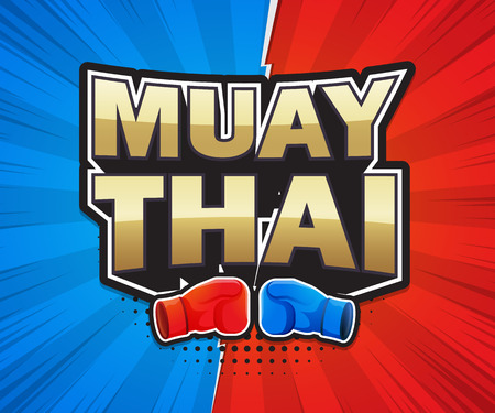 Muay Thai poster speech label banner design. Vector illustration Ilustrace