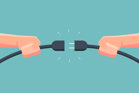 Mano sujetando el enchufe eléctrico de conexión. Ilustración vectorial