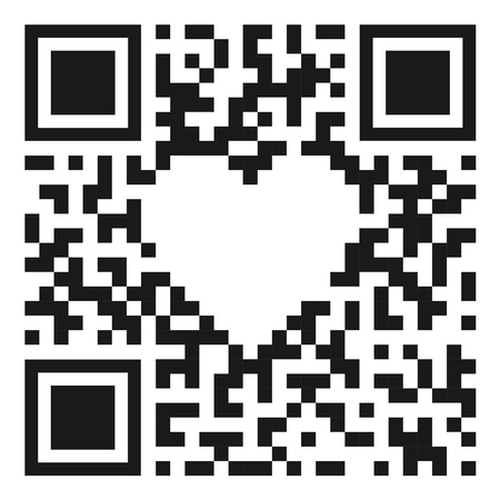 QR code with heart shap. Concept of digital love. Vector illustration