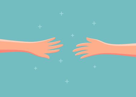 Twee handen die naar elkaar reiken. vector illustratie