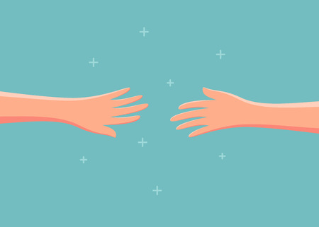 Two hands reaching out to each other. Vector illustration