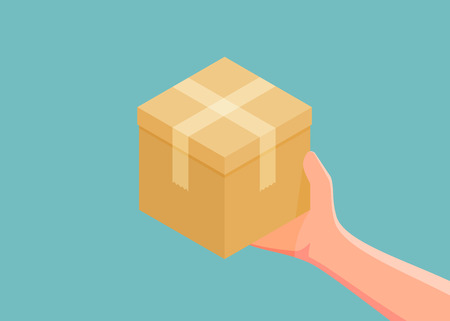 Hand holding cardboard box. concept of deliver shopping transport. Vector illustration Çizim