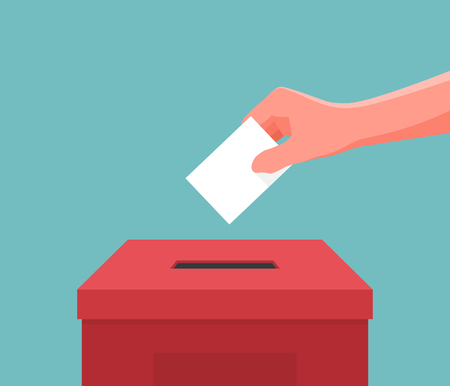 Hand putting paper ballot in the box. Vector illustration Stock Illustratie