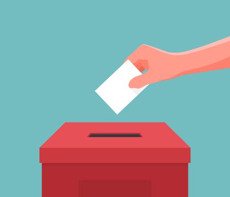 Ręczne wkładanie kart do głosowania w polu. Ilustracja wektorowa