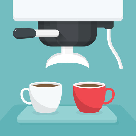 Coffee maker with white and red cup. Vector illustration