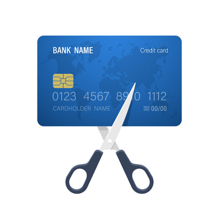 Cutting credit card. Concept of cost reduction. Vector illustration