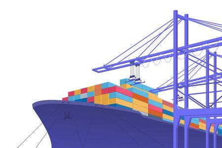 Transport maritime. Échange international. conception graphique avec espace de copie. Illustration vectorielle