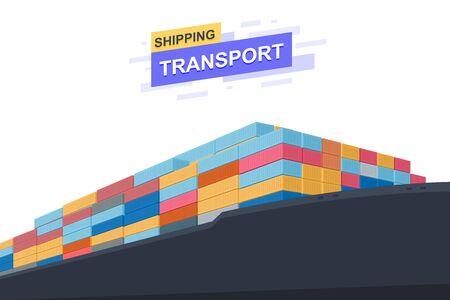 Shipping transportation. International trade. Close Up design. Vector illustration