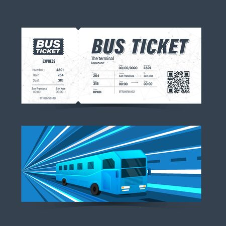 Bus ticket card creative template for graphics design. Vector illustration