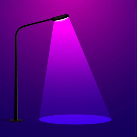 Streetlight lamp with spotlight beam. concept of stand out. vector illustration