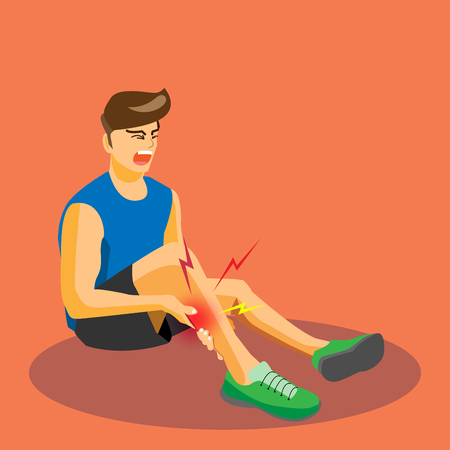 Runner with injured leg and muscle cramp, cartoon flat-style vector illustration.