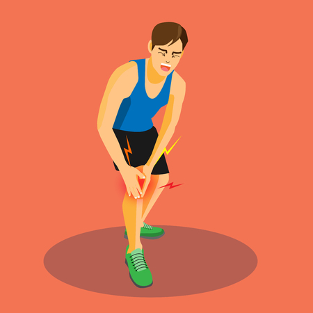 Runner with injured knee crying with painful, cartoon flat-style vector illustration.