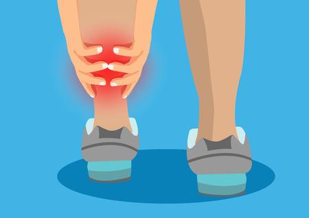 Mulher correndo na lesão do parque e cãibras musculares. Estilo de vida saudável e conceito de esporte. Ilustración de vector