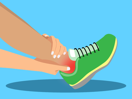 Young woman suffering from pain in ankle while running in the park, cartoon flat-style vector illustration.