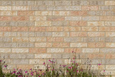planar: background of random orange tone brick wall with small flower bush foreground, pattern
