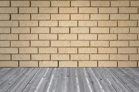 intersect: orange brick wall background pattern intersect wood table