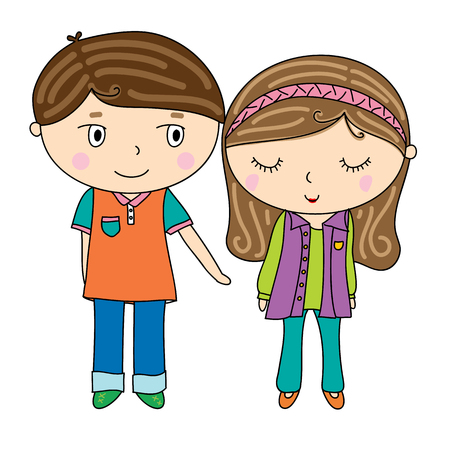 loveable: illustration of cute boy and pretty girl Stock Photo