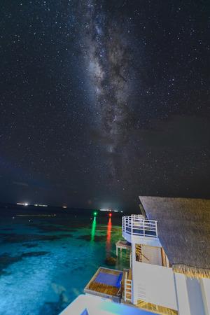 milky way and million stars over Maldives night sky, Indian ocean Banco de Imagens