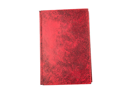 hard cover: old red hard cover, blank page on front cover, isolate white background