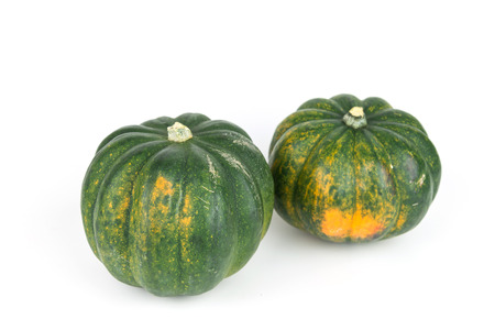 Two acorn squash, pumpkin harvest from Mexico on isolate white background Banco de Imagens