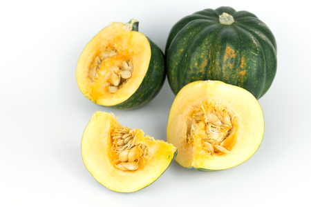 Two acorn squash, pumkin harvest from Mexico on isolate white background