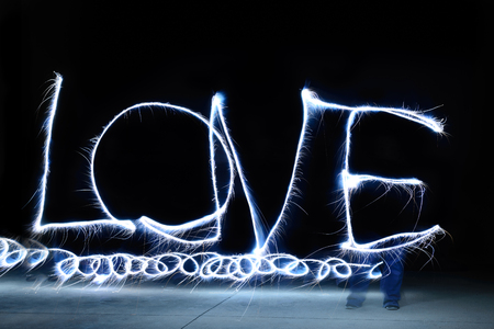 light painting: Colorful Love letter by light painting, long exposure time Stock Photo