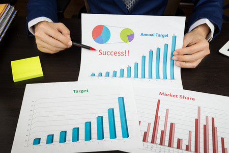 market share: business planning meeting concept, target, market share, success