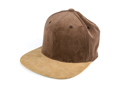 brim: men accessories, brown corrugated snapback cap, flat brim, isolated white background