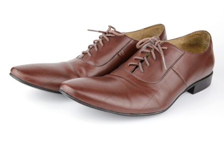 brogue: Men accessories, Brown leather medallion toe wholecuts shoes, isolated white background