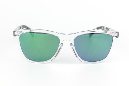 mirror frame: ski sunglasses, transparent frame, green mirror lens