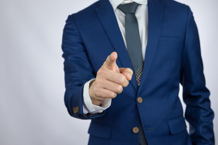 businessman pointing index finger, action of touch screen