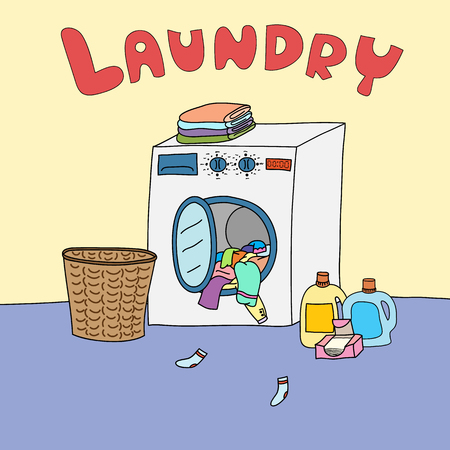 dirty room: A laundry room is a room for cleaning dirty clothes. Illustration