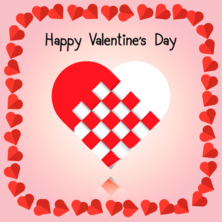 plaiting: illustration of Valentines day card, plaiting heart, origami Illustration