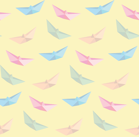 illustration of boat origami background, seamless pattern