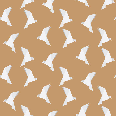 illustration of bird origami background, seamless pattern
