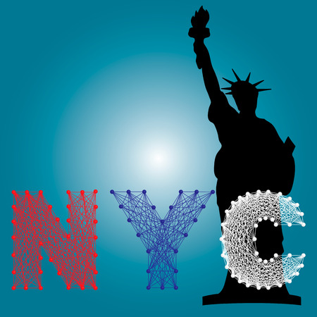 american history: illustration of NYC letters string art and statue of liberty