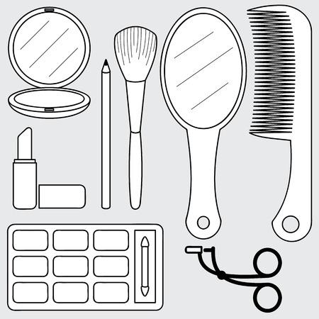 illustration of beauty accessories, make up 일러스트