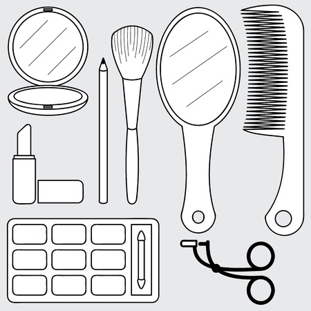illustration of beauty accessories, make up Vettoriali