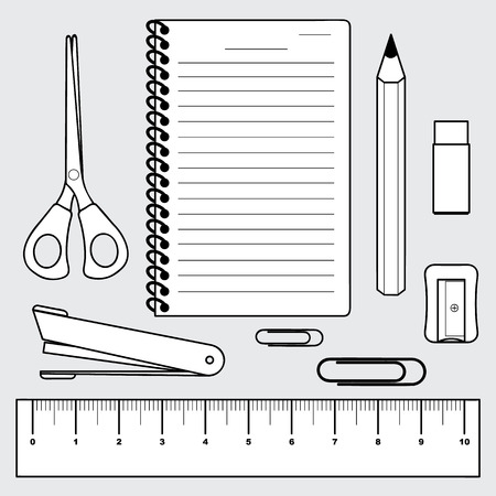 vector of stationery collection, office and school supplies, Illustration