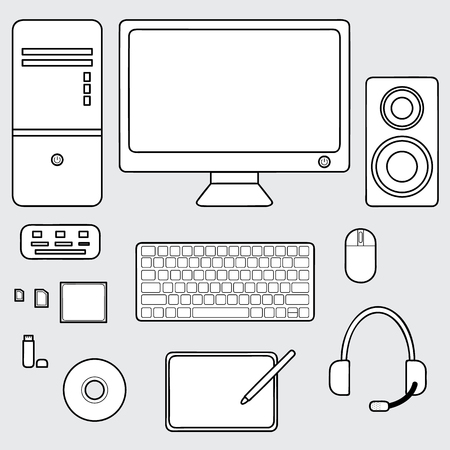 bluetooth headset: illustration of computer accessories collection, keyboard, mouse, headphone