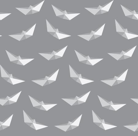 ボート折り紙背景、シームレスなパターンのイラスト