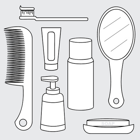 illustration of personal hygiene product concept, toiletries collection, toothbrush, comb, toothpaste, mirror, soap