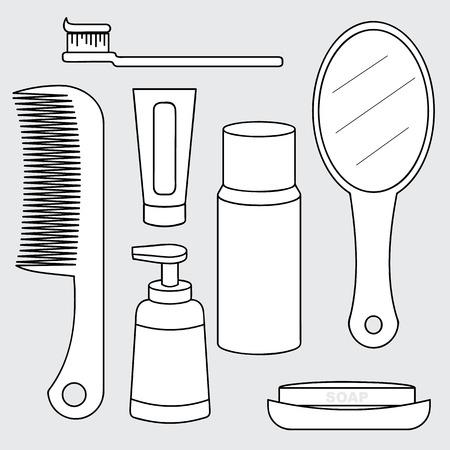 productos de aseo: Ilustraci�n del concepto de producto de higiene personal, art�culos de higiene personal de recogida, cepillo de dientes, peine, pasta de dientes, espejo, jab�n