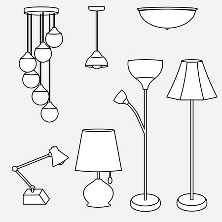 illustration of lamp set, ceiling, table, desk, and floor lamp