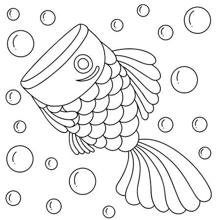 illustrator of golden fish, bubble, cartoon