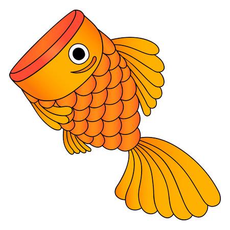 golden fish: illustrator of golden fish, cartoon, isolated